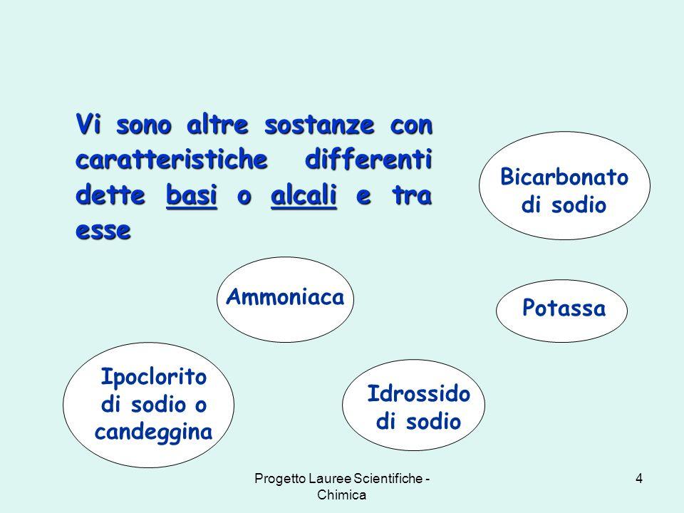Progetto Lauree Scientifiche - Chimica 4 Vi sono altre sostanze con caratteristiche differenti dette basi o alcali e tra esse Potassa Ammoniaca Bicarb