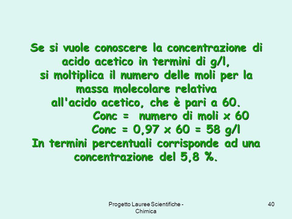 Progetto Lauree Scientifiche - Chimica 40 Se si vuole conoscere la concentrazione di acido acetico in termini di g/l, si moltiplica il numero delle mo