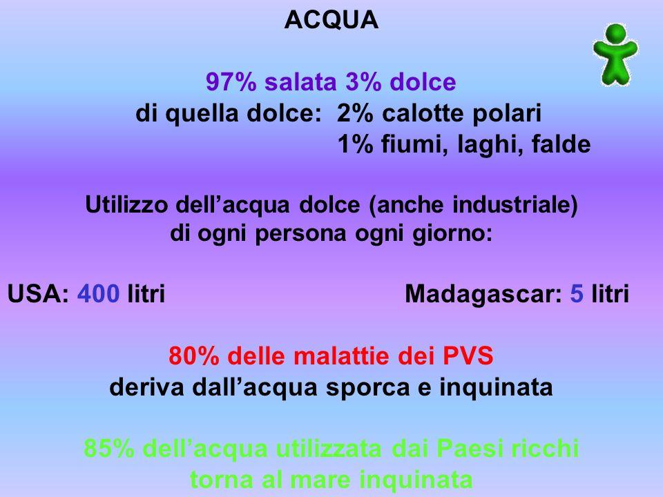 ACQUA 97% salata 3% dolce di quella dolce: 2% calotte polari 1% fiumi, laghi, falde Utilizzo dellacqua dolce (anche industriale) di ogni persona ogni