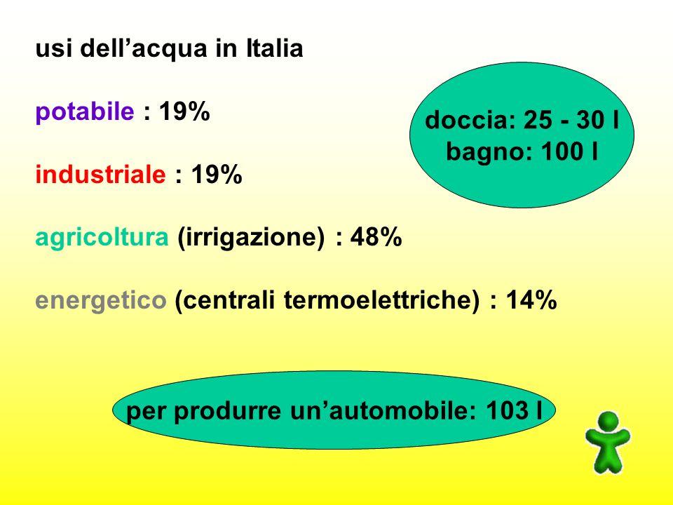 usi dellacqua in Italia potabile : 19% industriale : 19% agricoltura (irrigazione) : 48% energetico (centrali termoelettriche) : 14% doccia: 25 - 30 l bagno: 100 l per produrre unautomobile: 103 l