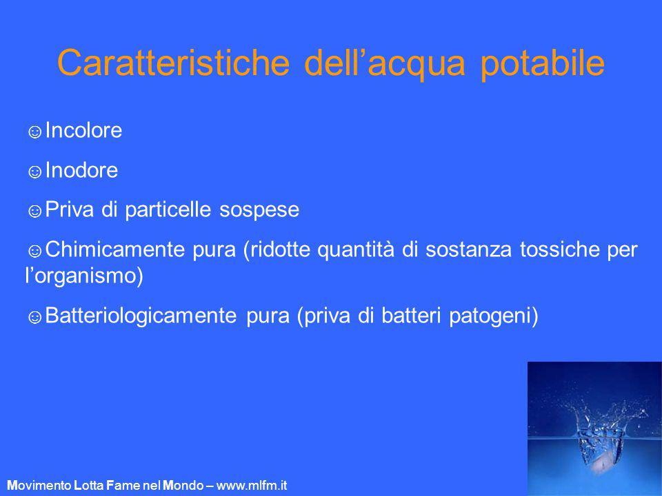Caratteristiche dellacqua potabile Incolore Inodore Priva di particelle sospese Chimicamente pura (ridotte quantità di sostanza tossiche per lorganism