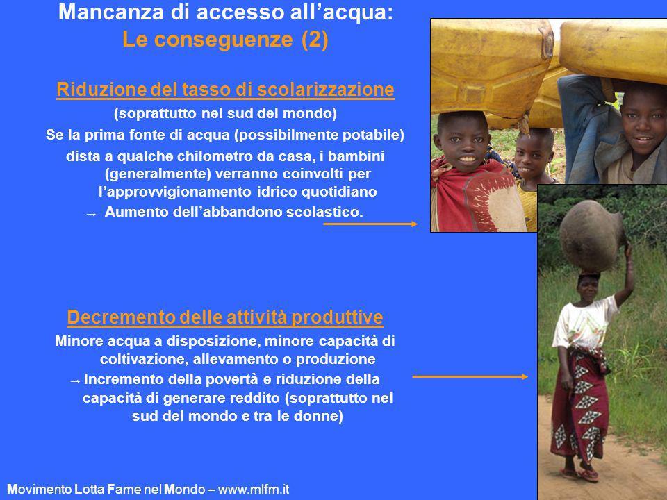 Mancanza di accesso allacqua: Le conseguenze (2) Riduzione del tasso di scolarizzazione (soprattutto nel sud del mondo) Se la prima fonte di acqua (po