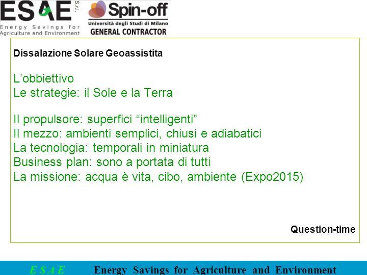 E S A E Energy Savings for Agriculture and Environment …Obbiettivo.