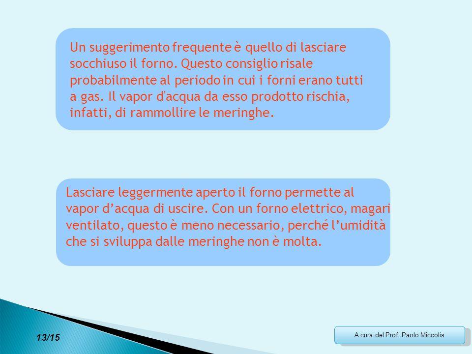 A cura del Prof. Paolo Miccolis Un suggerimento frequente è quello di lasciare socchiuso il forno. Questo consiglio risale probabilmente al periodo in