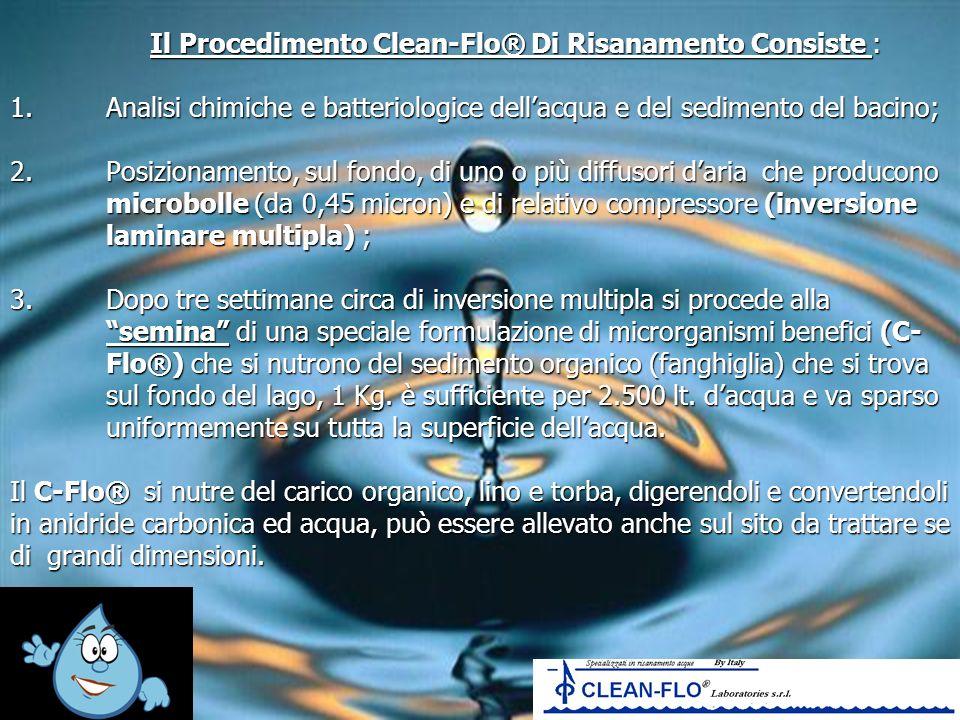 Il Procedimento Clean-Flo® Di Risanamento Consiste : 1.Analisi chimiche e batteriologice dellacqua e del sedimento del bacino; 2.Posizionamento, sul f