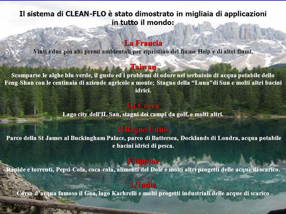 Il sistema di CLEAN-FLO è stato dimostrato in migliaia di applicazioni La Francia in tutto il mondo: La Francia Vinti i due più alti premi ambientali