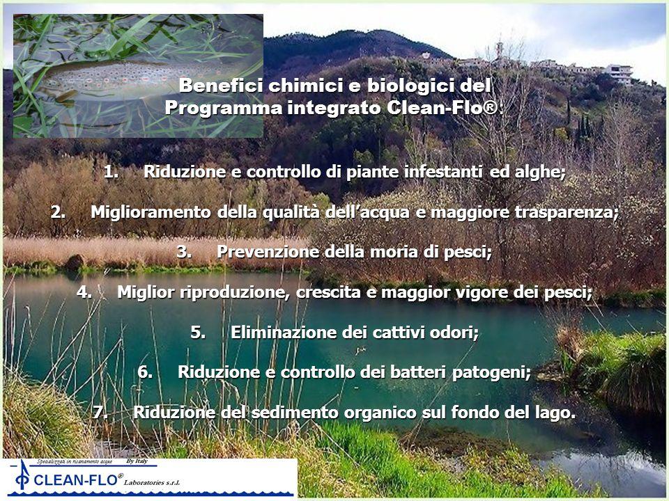Benefici chimici e biologici del Programma integrato Clean-Flo® : 1. Riduzione e controllo di piante infestanti ed alghe; 2. Miglioramento della quali