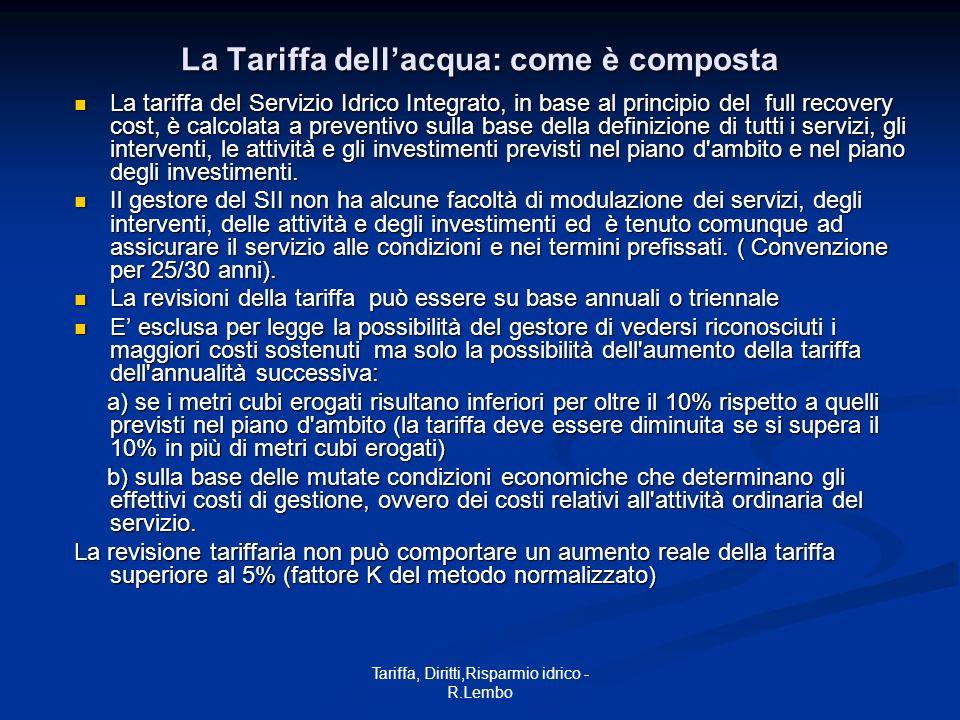 Tariffa, Diritti,Risparmio idrico - R.Lembo La Tariffa dellacqua: come è composta La tariffa del Servizio Idrico Integrato, in base al principio del f