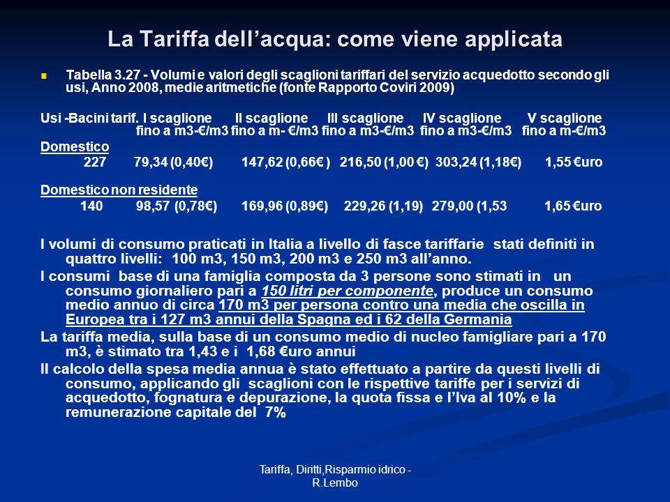 Tariffa, Diritti,Risparmio idrico - R.Lembo La Tariffa dellacqua: come viene applicata Tabella 3.27 - Volumi e valori degli scaglioni tariffari del se
