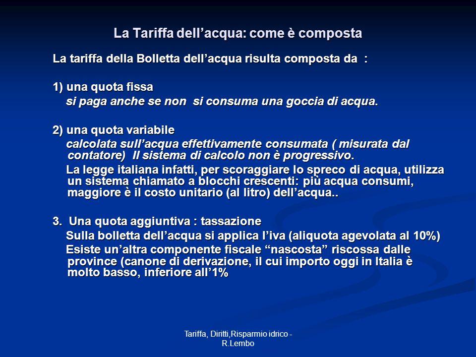 Tariffa, Diritti,Risparmio idrico - R.Lembo La Tariffa dellacqua: come è composta La tariffa della Bolletta dellacqua risulta composta da : 1) una quo