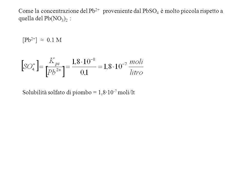 Come la concentrazione del Pb 2+ proveniente dal PbSO 4 è molto piccola rispetto a quella del Pb(NO 3 ) 2 : [Pb 2+ ] 0.1 M Solubilità solfato di piomb