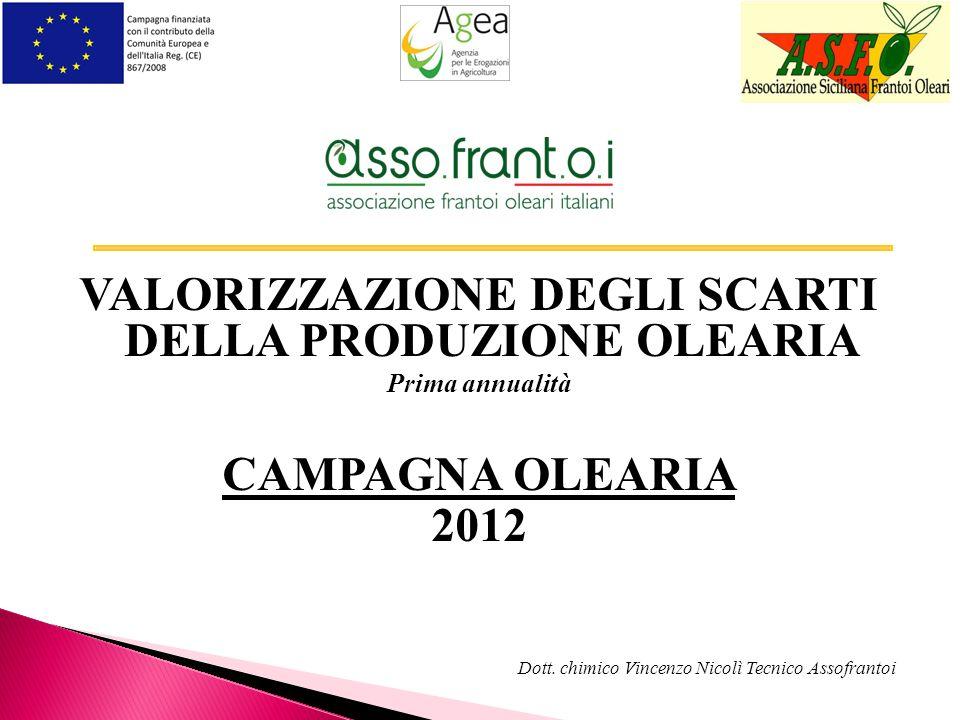 VALORIZZAZIONE DEGLI SCARTI DELLA PRODUZIONE OLEARIA Prima annualità CAMPAGNA OLEARIA 2012 Dott. chimico Vincenzo Nicolì Tecnico Assofrantoi