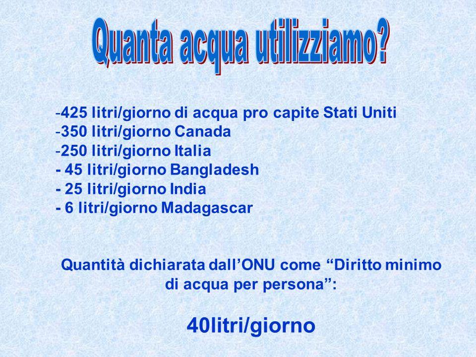 -425 litri/giorno di acqua pro capite Stati Uniti -350 litri/giorno Canada -250 litri/giorno Italia - 45 litri/giorno Bangladesh - 25 litri/giorno India - 6 litri/giorno Madagascar Quantità dichiarata dallONU come Diritto minimo di acqua per persona: 40litri/giorno