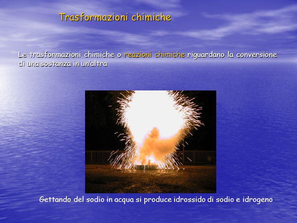 Trasformazioni chimiche Le trasformazioni chimiche o reazioni chimiche riguardano la conversione di una sostanza in unaltra Gettando del sodio in acqu