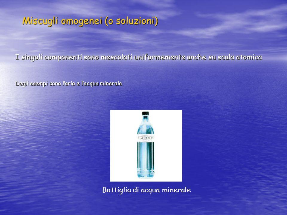 Miscugli omogenei (o soluzioni) I singoli componenti sono mescolati uniformemente anche su scala atomica Degli esempi sono laria e lacqua minerale Bot