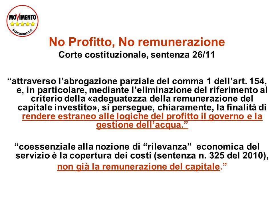 No Profitto, No remunerazione Corte costituzionale, sentenza 26/11 attraverso labrogazione parziale del comma 1 dellart.