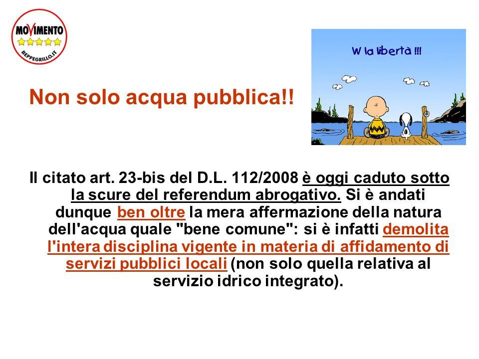 Non solo acqua pubblica!. Il citato art. 23-bis del D.L.