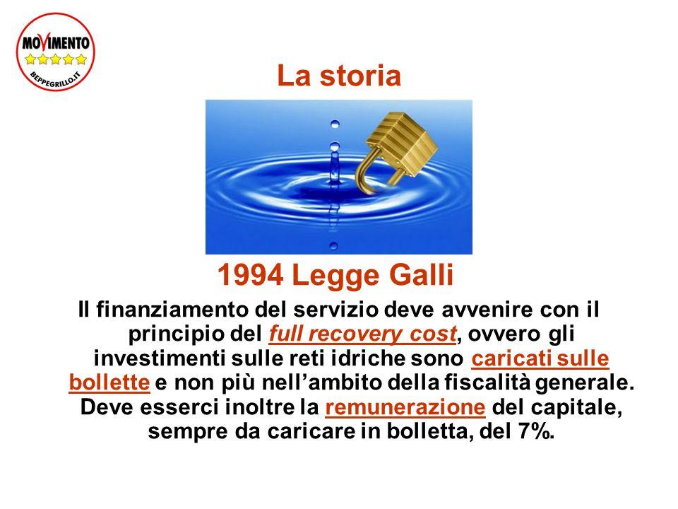 La storia 1994 Legge Galli Il finanziamento del servizio deve avvenire con il principio del full recovery cost, ovvero gli investimenti sulle reti idriche sono caricati sulle bollette e non più nellambito della fiscalità generale.