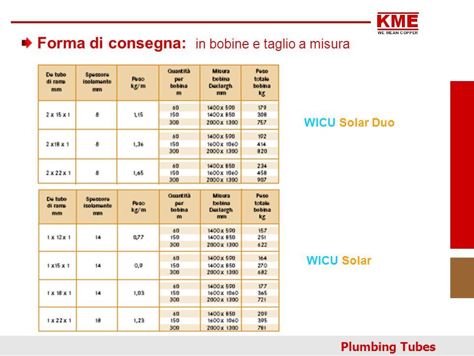 Forma di consegna: in bobine e taglio a misura Plumbing Tubes WICU Solar Duo WICU Solar