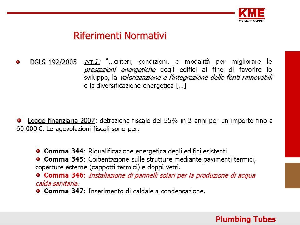 Plumbing Tubes Riferimenti Normativi DGLS 192/2005 DGLS 192/2005 : prestazioni energetiche valorizzazione e lintegrazione delle fonti rinnovabili art.
