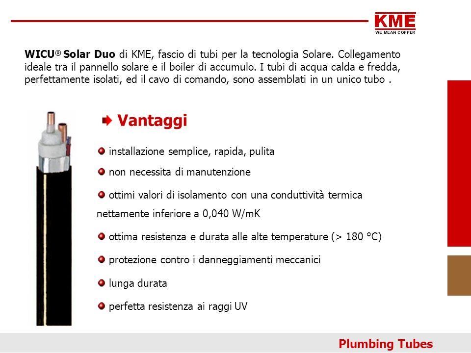 Struttura: WICU Solar Duo 1tubi-acqua 2 x(15), (18), (22) x 1,0 mm 2-3 isolamento termico in lana di poliestere 4cavo elettrico di comando, isolamento di silicone 2 x 0,75mm² 5nastro in polietilene 6protezione esterna in polietilene (PE-LD, s=1,5mm), d e max 53 mm Plumbing Tubes