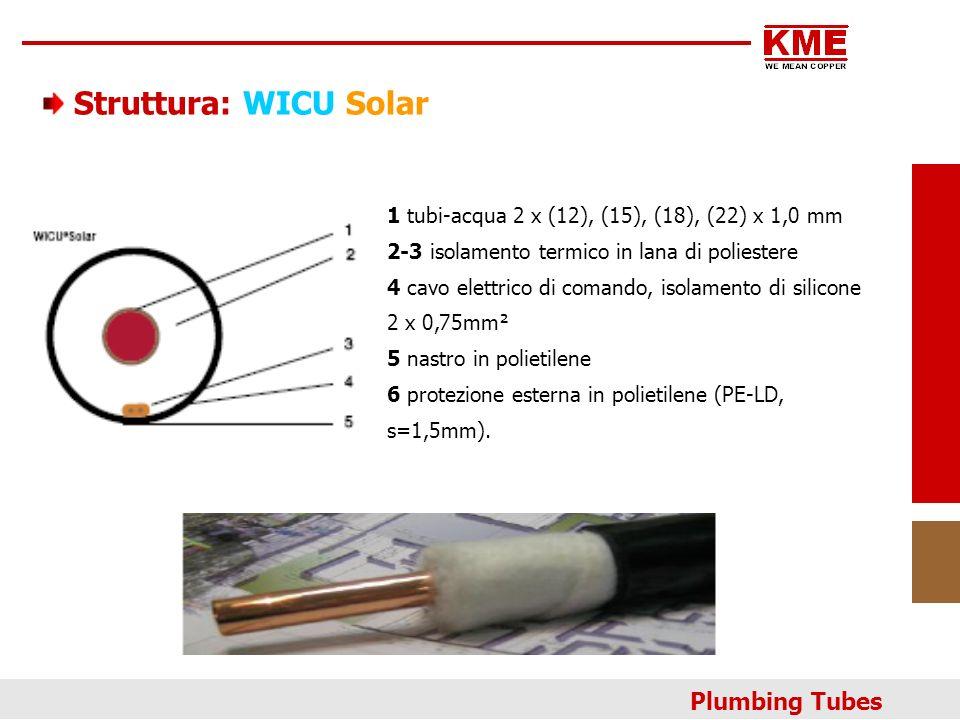 Struttura: WICU Solar 1tubi-acqua 2 x (12), (15), (18), (22) x 1,0 mm 2-3 isolamento termico in lana di poliestere 4cavo elettrico di comando, isolame
