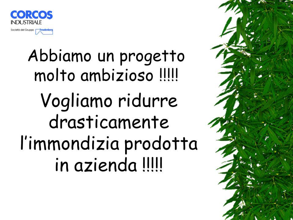 Abbiamo un progetto molto ambizioso !!!!! Vogliamo ridurre drasticamente limmondizia prodotta in azienda !!!!!