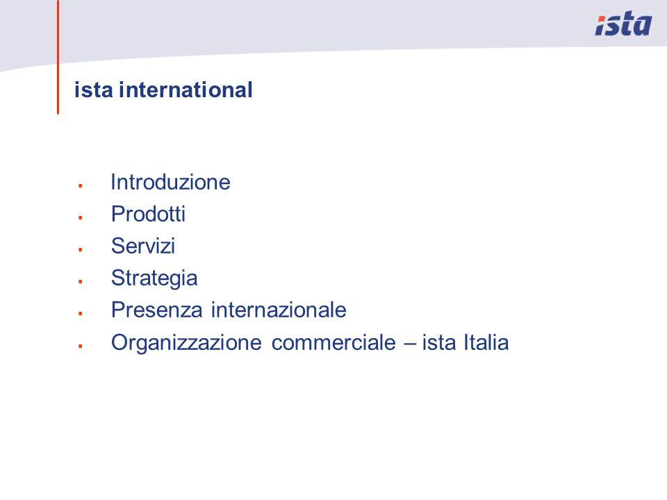 Introduzione Prodotti Servizi Strategia Presenza internazionale Organizzazione commerciale – ista Italia ista international