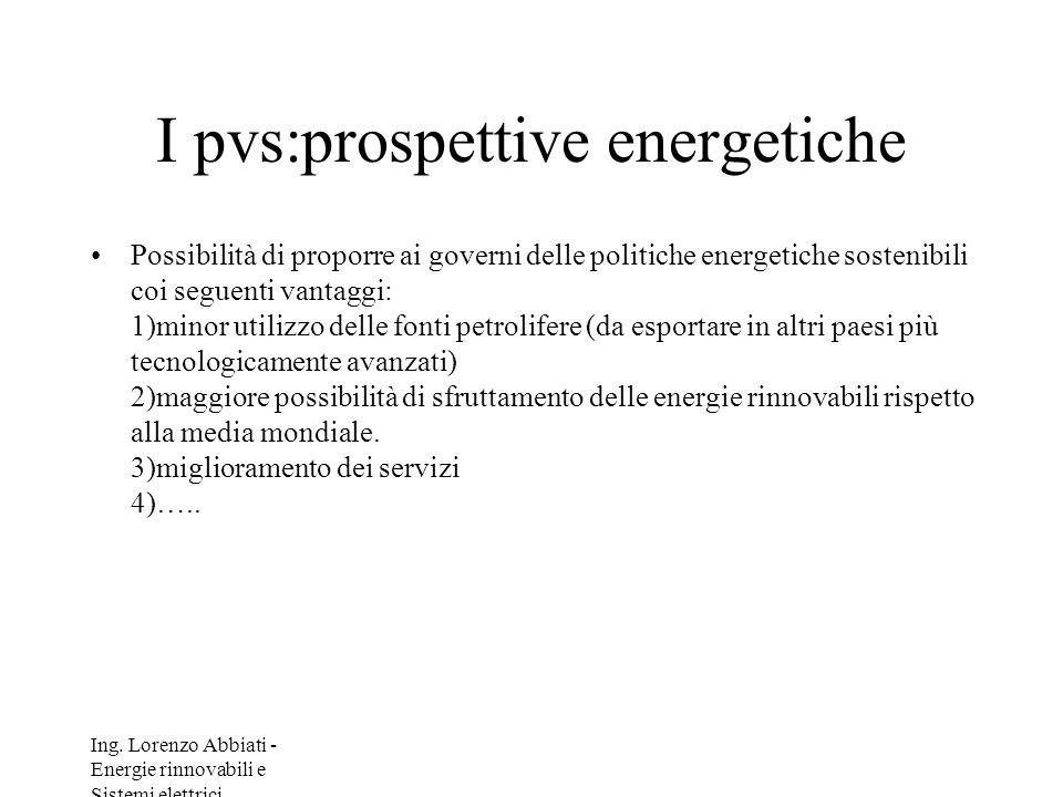 Ing. Lorenzo Abbiati - Energie rinnovabili e Sistemi elettrici I pvs:prospettive energetiche Possibilità di proporre ai governi delle politiche energe