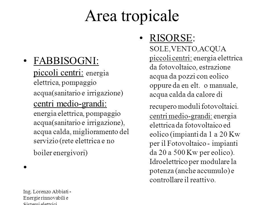 Ing. Lorenzo Abbiati - Energie rinnovabili e Sistemi elettrici Area tropicale FABBISOGNI: piccoli centri: energia elettrica, pompaggio acqua(sanitario