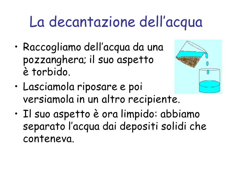 La decantazione dellacqua Raccogliamo dellacqua da una pozzanghera; il suo aspetto è torbido.