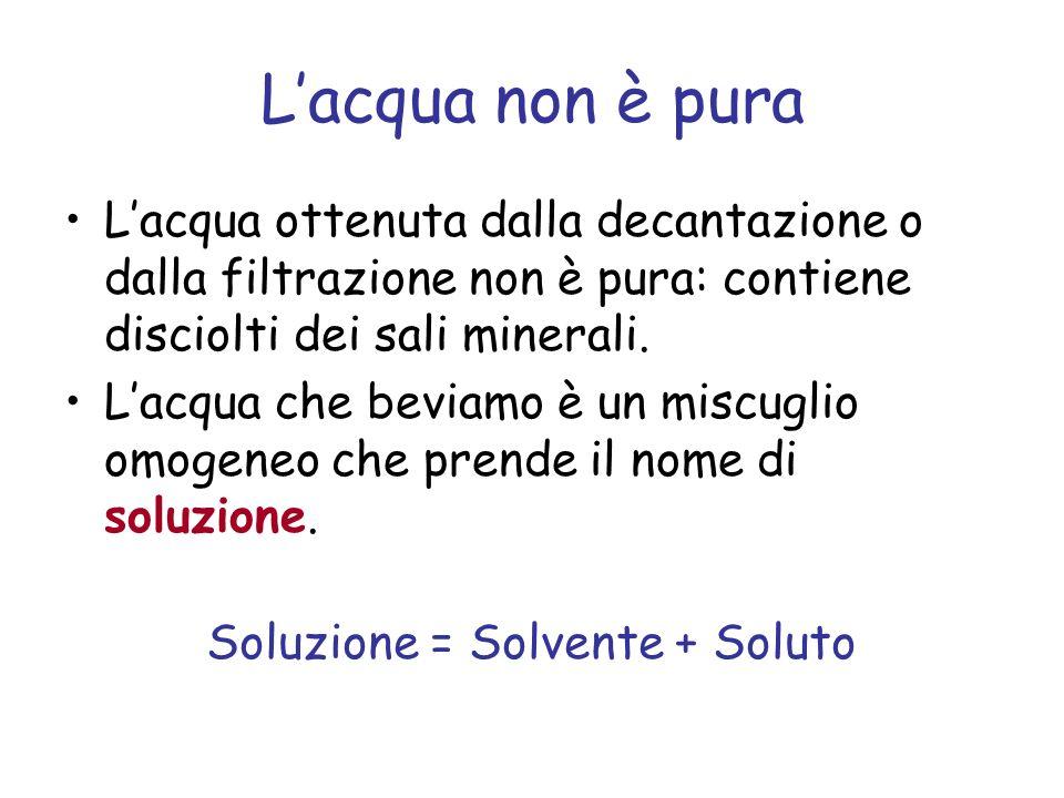 Lacqua non è pura Lacqua ottenuta dalla decantazione o dalla filtrazione non è pura: contiene disciolti dei sali minerali.