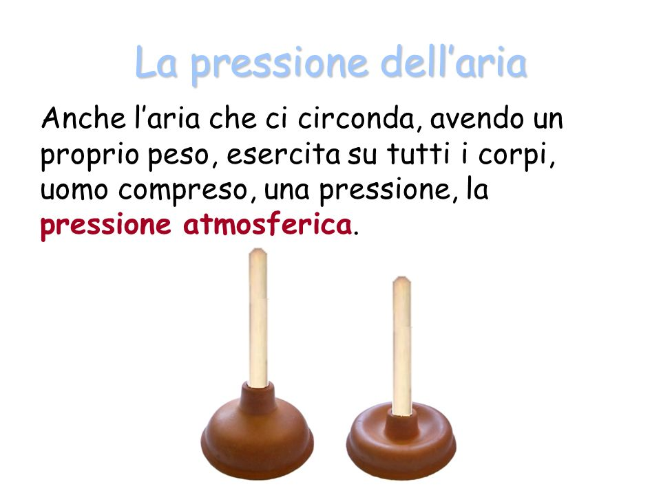 La pressione dellaria Anche laria che ci circonda, avendo un proprio peso, esercita su tutti i corpi, uomo compreso, una pressione, la pressione atmosferica.
