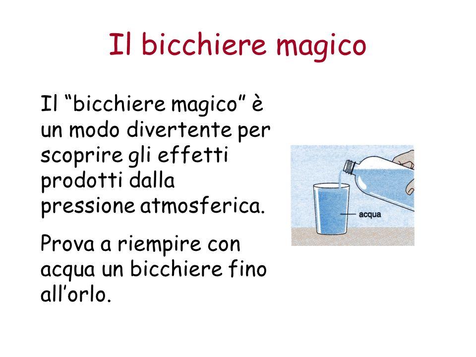 Il bicchiere magico Il bicchiere magico è un modo divertente per scoprire gli effetti prodotti dalla pressione atmosferica.