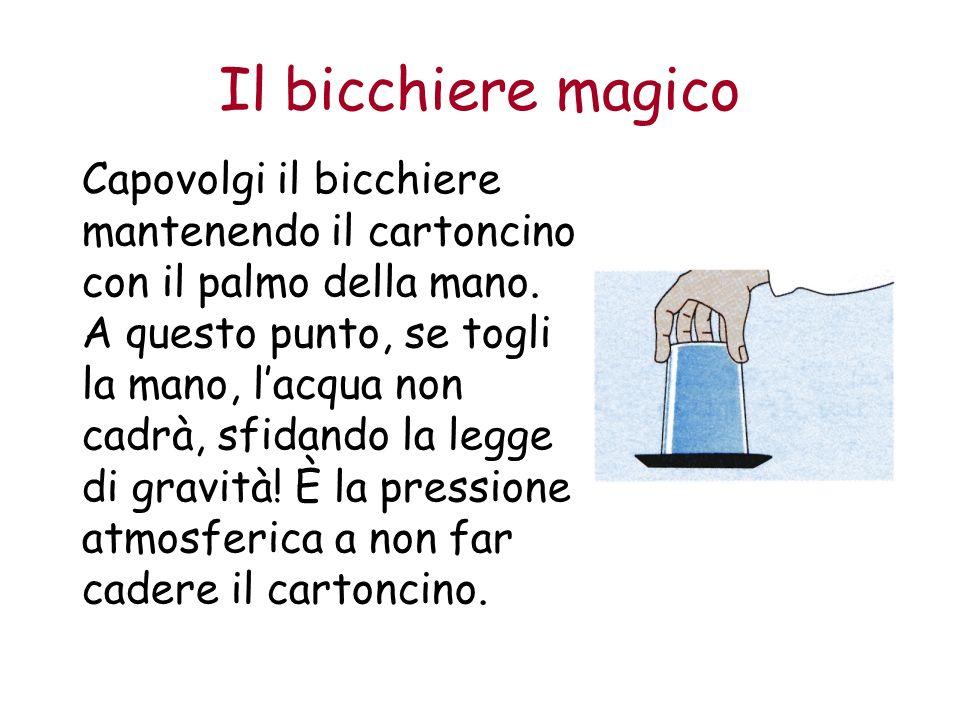Il bicchiere magico Capovolgi il bicchiere mantenendo il cartoncino con il palmo della mano.