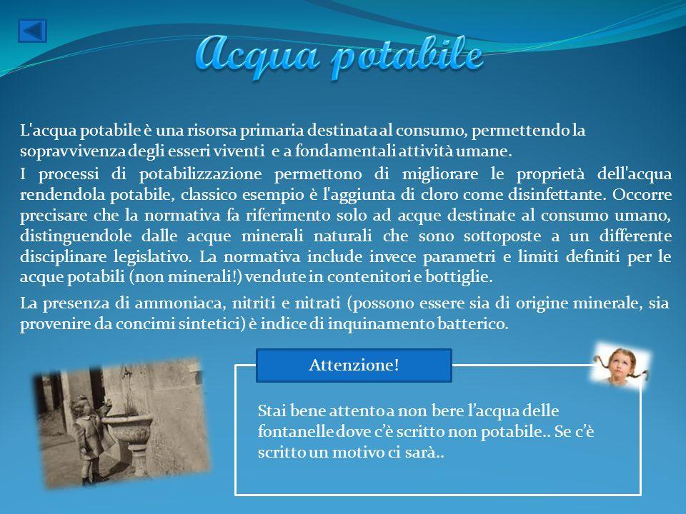 L'acqua potabile è una risorsa primaria destinata al consumo, permettendo la sopravvivenza degli esseri viventi e a fondamentali attività umane. I pro