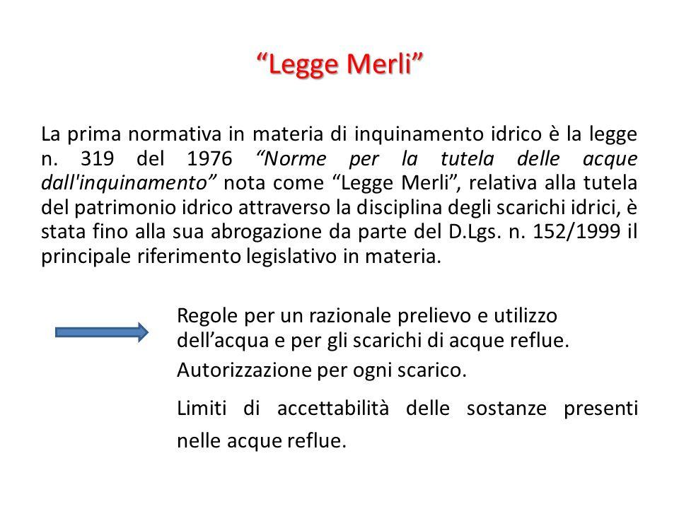 Legge Merli La prima normativa in materia di inquinamento idrico è la legge n. 319 del 1976 Norme per la tutela delle acque dall'inquinamento nota com