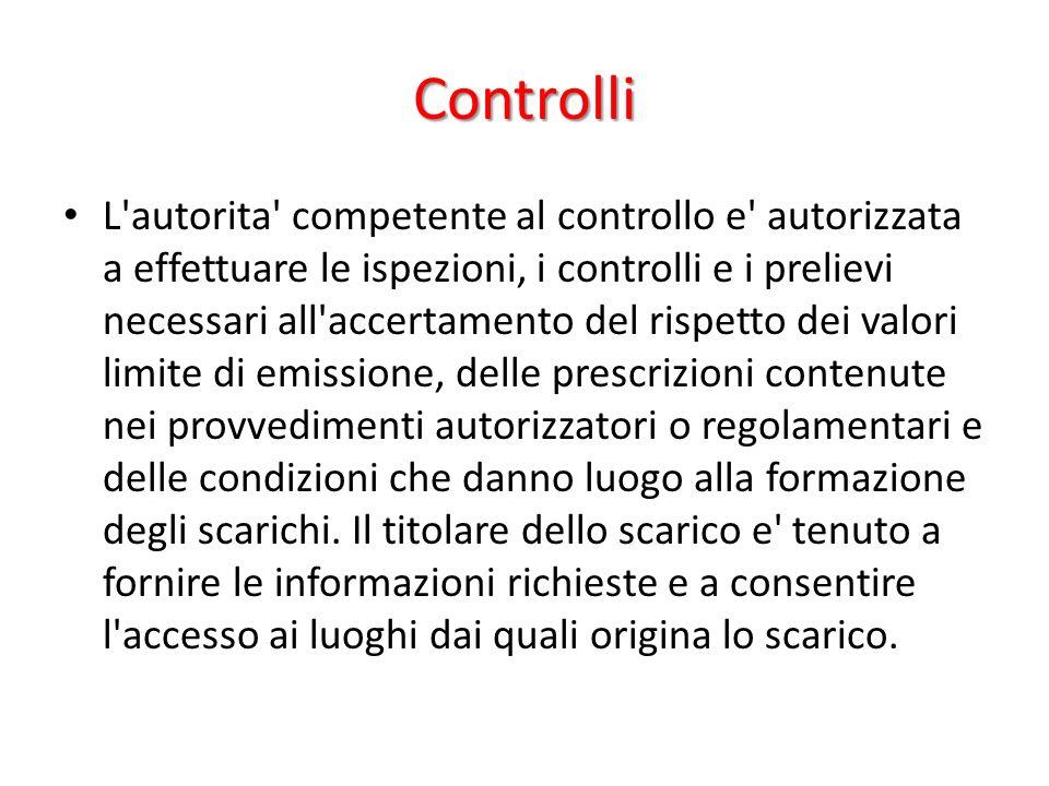 Controlli L'autorita' competente al controllo e' autorizzata a effettuare le ispezioni, i controlli e i prelievi necessari all'accertamento del rispet