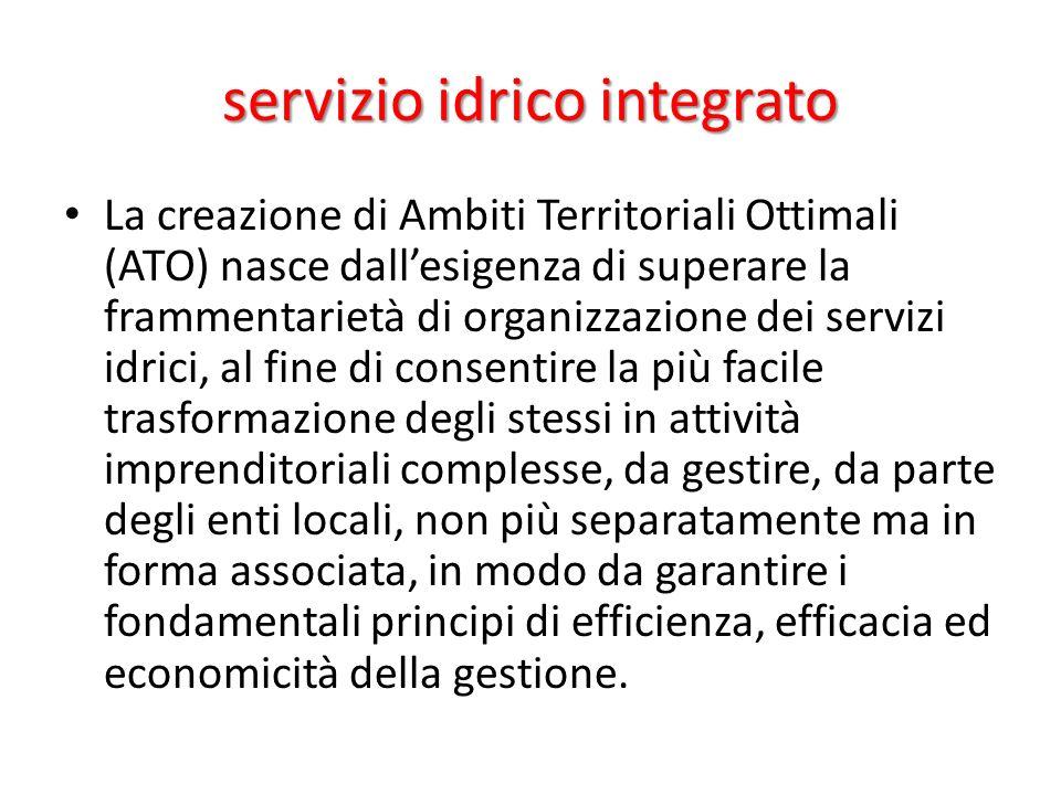 servizio idrico integrato La creazione di Ambiti Territoriali Ottimali (ATO) nasce dallesigenza di superare la frammentarietà di organizzazione dei se