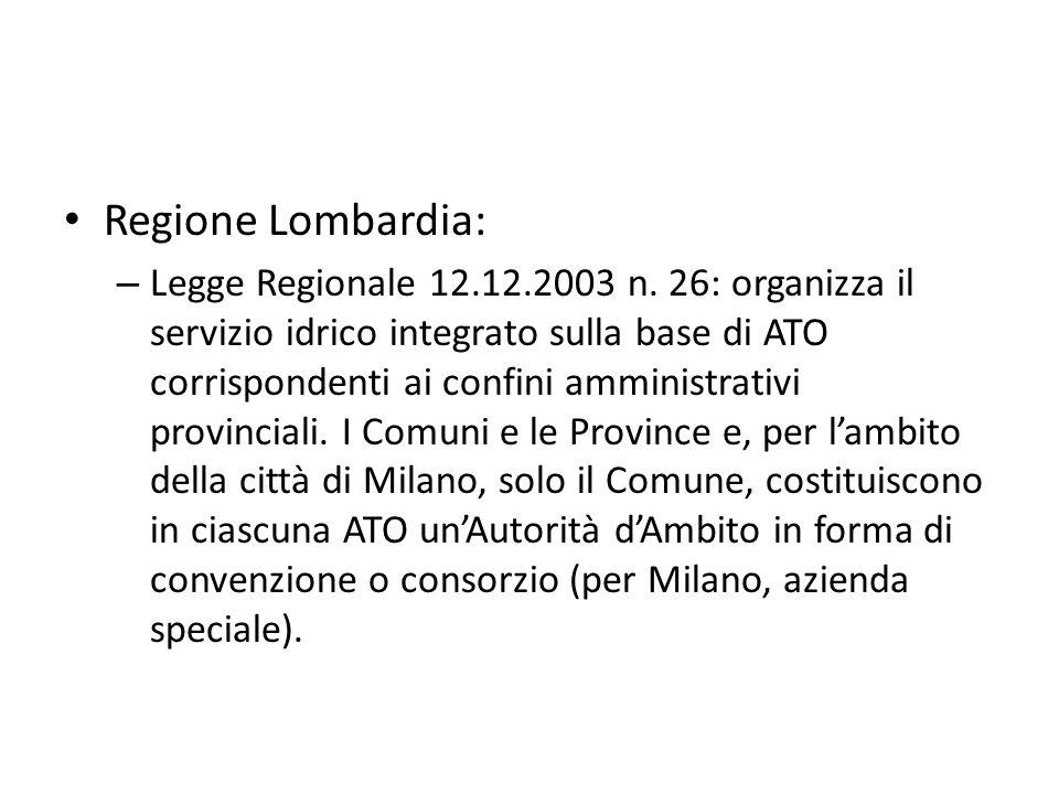 Regione Lombardia: – Legge Regionale 12.12.2003 n. 26: organizza il servizio idrico integrato sulla base di ATO corrispondenti ai confini amministrati