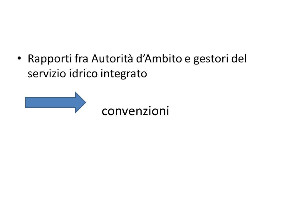 Rapporti fra Autorità dAmbito e gestori del servizio idrico integrato convenzioni