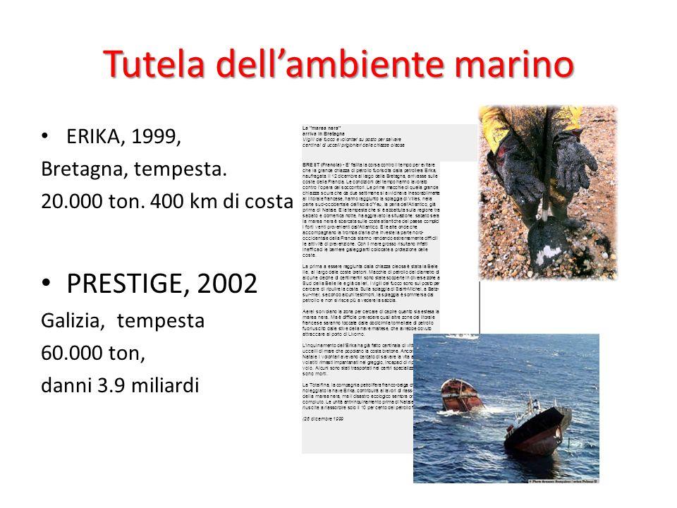 Tutela dellambiente marino ERIKA, 1999, Bretagna, tempesta. 20.000 ton. 400 km di costa PRESTIGE, 2002 Galizia, tempesta 60.000 ton, danni 3.9 miliard
