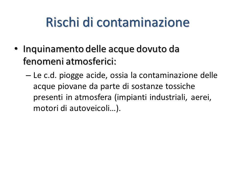 Rischi di contaminazione Inquinamento delle acque dovuto da fenomeni atmosferici: Inquinamento delle acque dovuto da fenomeni atmosferici: – Le c.d. p