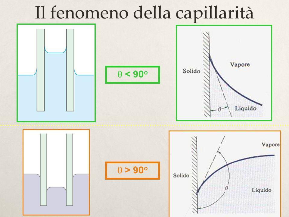 18 Il fenomeno della capillarità < 90 o > 90 o