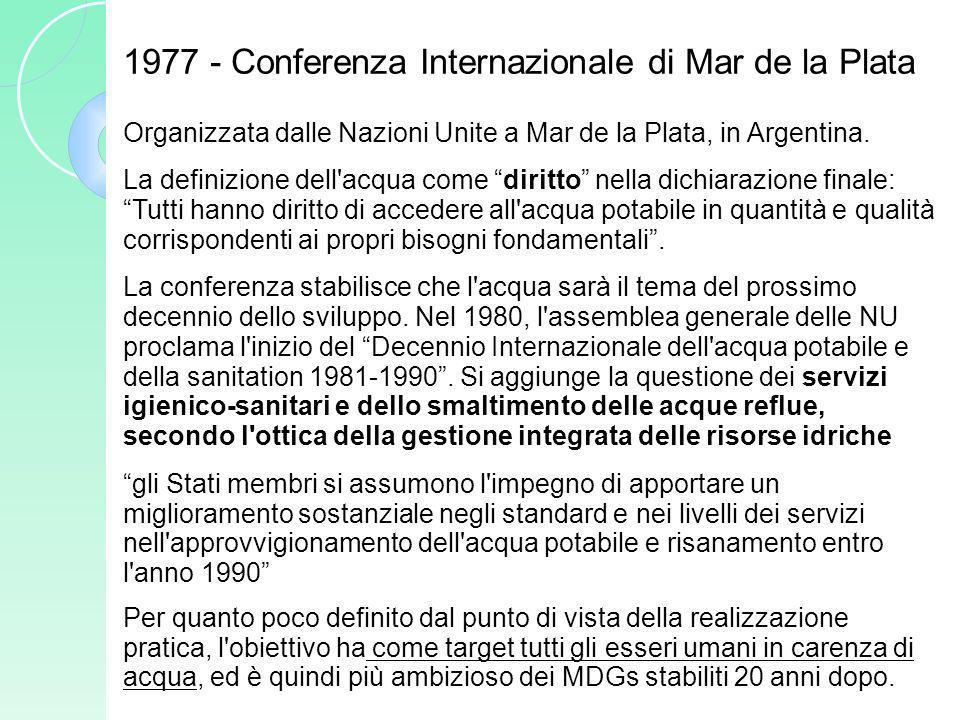 Organizzata dalle Nazioni Unite a Mar de la Plata, in Argentina. La definizione dell'acqua come diritto nella dichiarazione finale: Tutti hanno diritt
