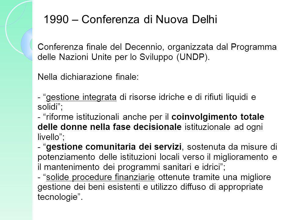 Conferenza finale del Decennio, organizzata dal Programma delle Nazioni Unite per lo Sviluppo (UNDP). Nella dichiarazione finale: - gestione integrata