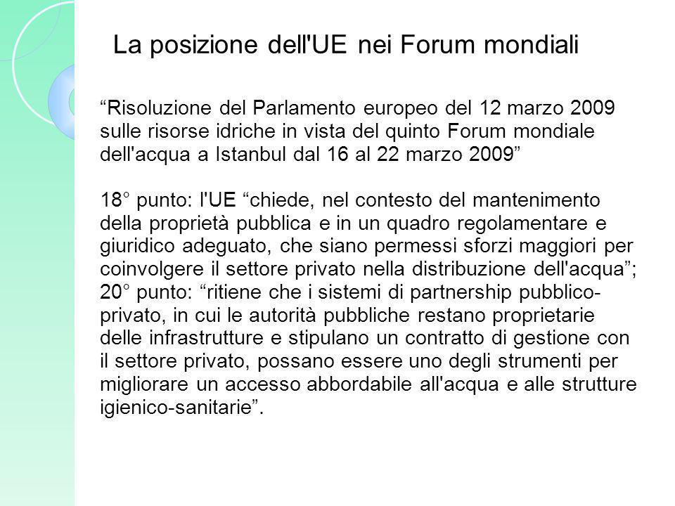 La posizione dell'UE nei Forum mondiali Risoluzione del Parlamento europeo del 12 marzo 2009 sulle risorse idriche in vista del quinto Forum mondiale