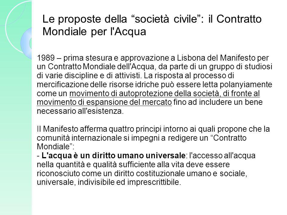 Le proposte della società civile: il Contratto Mondiale per l'Acqua 1989 – prima stesura e approvazione a Lisbona del Manifesto per un Contratto Mondi