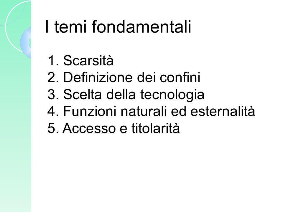 I temi fondamentali 1. Scarsità 2. Definizione dei confini 3. Scelta della tecnologia 4. Funzioni naturali ed esternalità 5. Accesso e titolarità