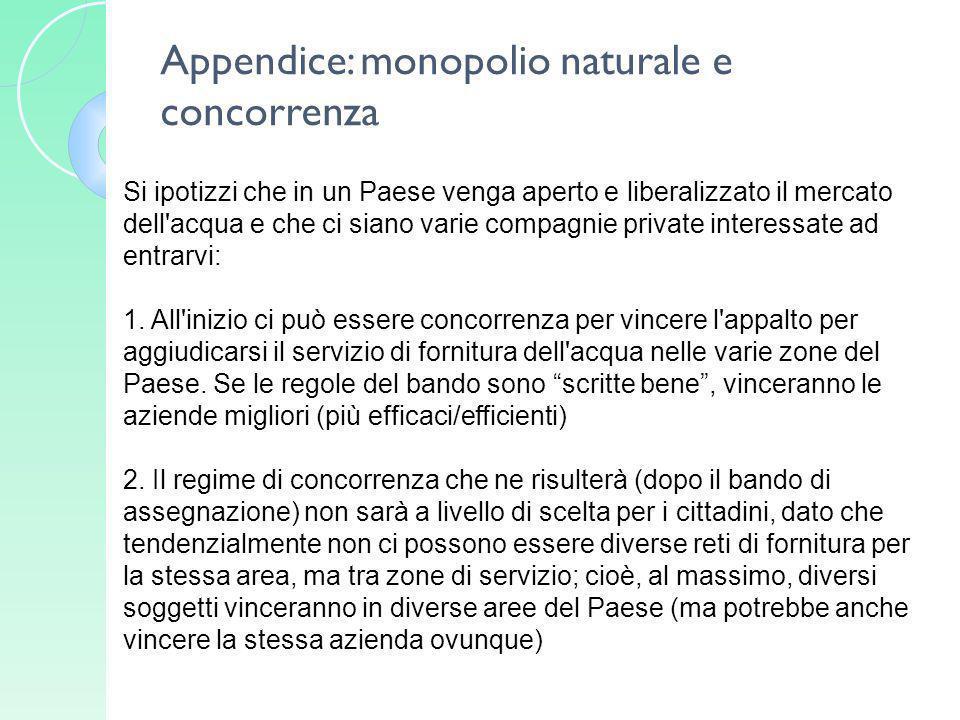 Appendice: monopolio naturale e concorrenza Si ipotizzi che in un Paese venga aperto e liberalizzato il mercato dell'acqua e che ci siano varie compag